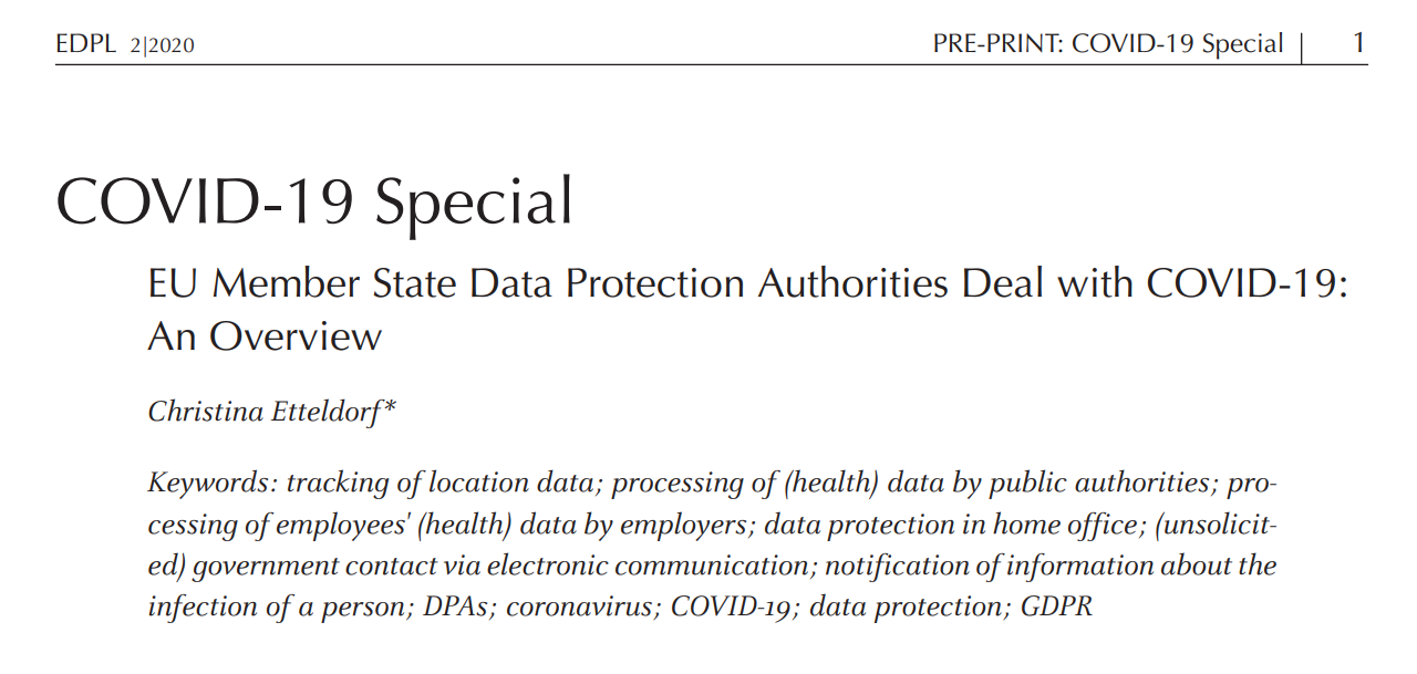 EMR publishes contribution on EU Member States Data Protection Authorities dealing with COVID-19